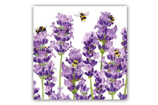 Servet Bees & Lavender 33x33cm paars 20 stuks