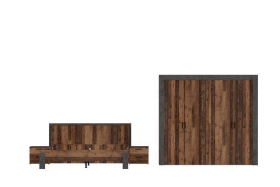 Slaapkamer met bed 180x200cm - kast 230cm