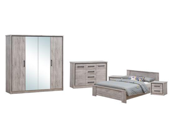 Slaapkamer Elias met bed 160x200cm - kleerkast 214cm