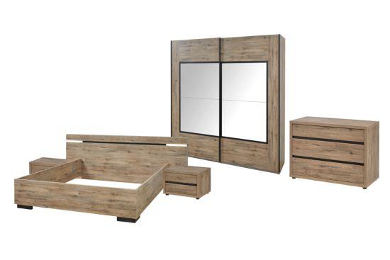 Slaapkamer met bed 160x200cm - kleerkast 274cm