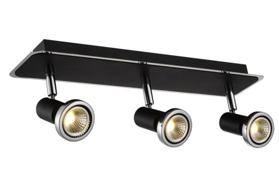 LED spot met 3 spots 5W GU10 chroom zwart
