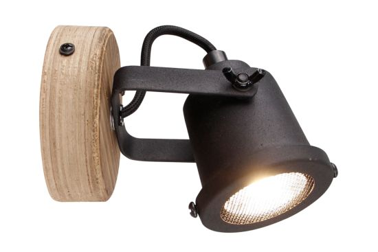 Wandlamp Inge zwart bruin 6W GU10