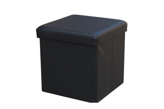 Poef V008 38x38cm lederlook zwart