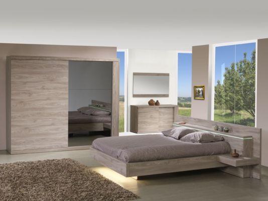 Slaapkamer met bed 180x200cm - kleerkast 260cm
