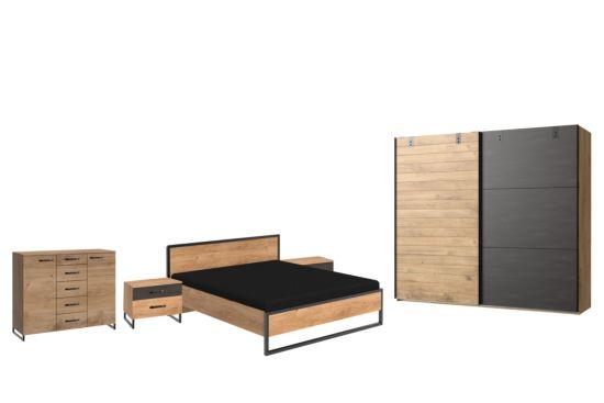 Slaapkamer Detroit I met bed 160x200cm - kleerkast 250cm