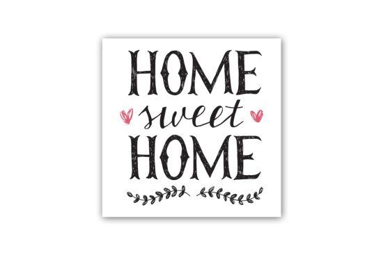 Doek met print Home Sweet Home 40x40cm
