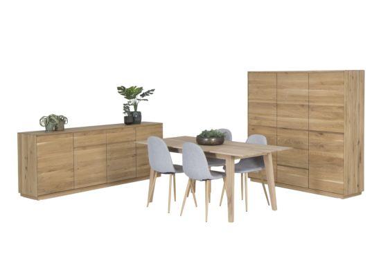 Eetkamer eikenhout met 4 stoelen Gyra