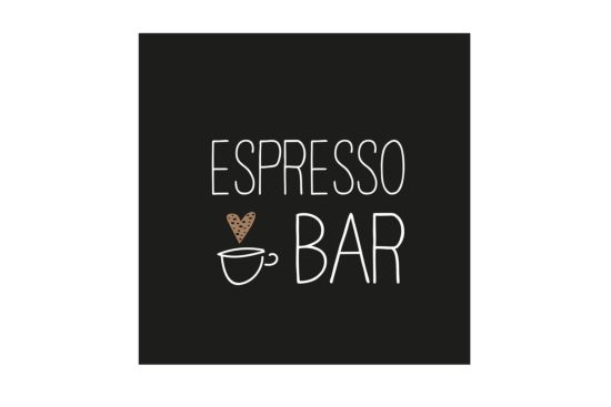 Servet Espresso Bar 25x25cm zwart 20 stuks