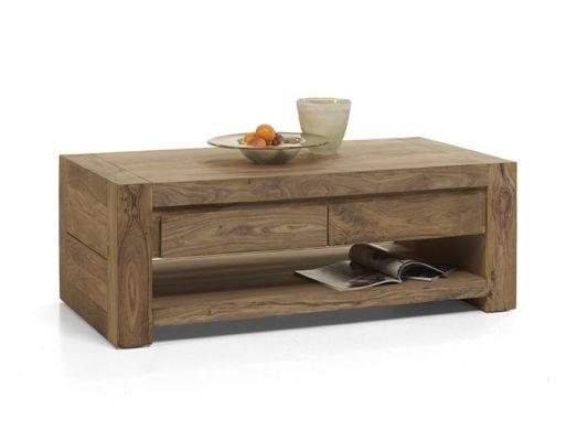 Salontafel Carbone hout massief met opbergruimte