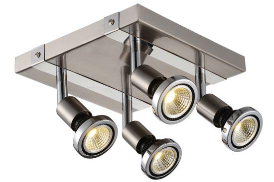 LED spot met 4 spots 5W GU10 chroom