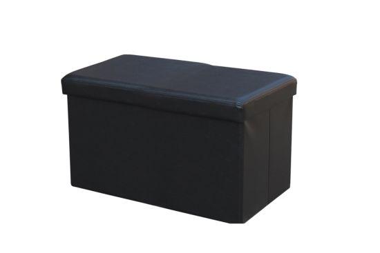 Poef V010 76x38cm lederlook zwart
