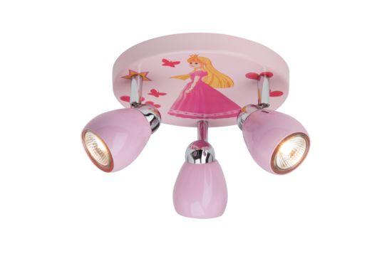 Opbouwspot Princess met 3 spots 50W GU10 roze
