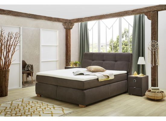 Boxspring Cleo  160x200cm stof donkerbruin