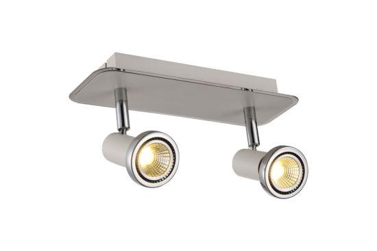 LED spot met 2 spots 5W GU10 chroom wit