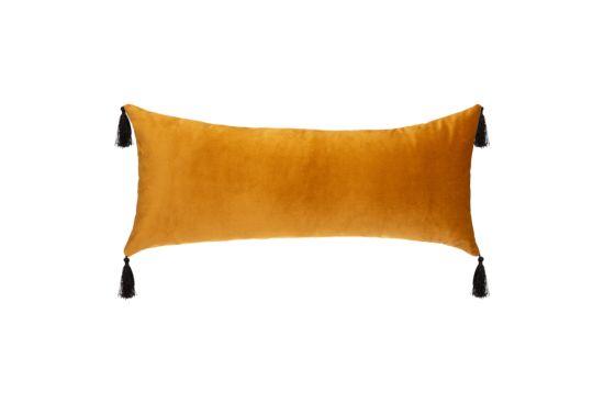 Kussen Velvet Pompom 58x25cm geel