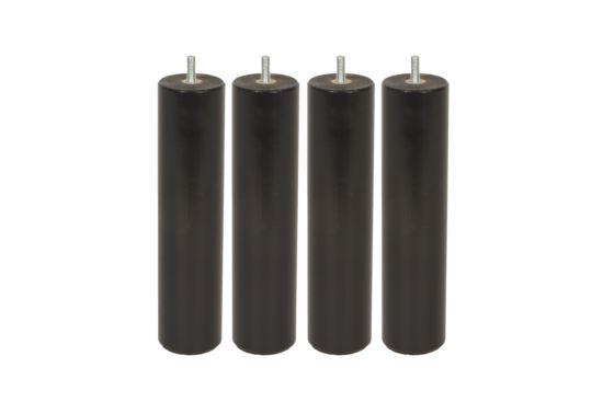 Steunpoot 23cm zwart, set van 4