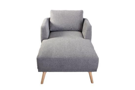 Chaise longue Folk stof grijs