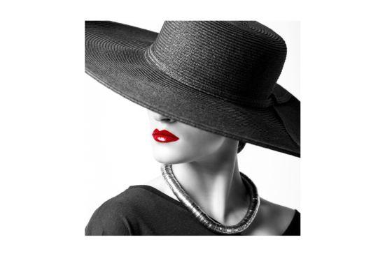 Foto op canvas Lady red lips 60x60cm
