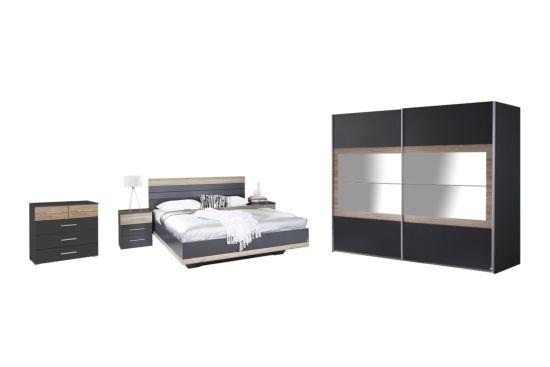 Slaapkamer met bed 160x200cm - kleerkast 271cm