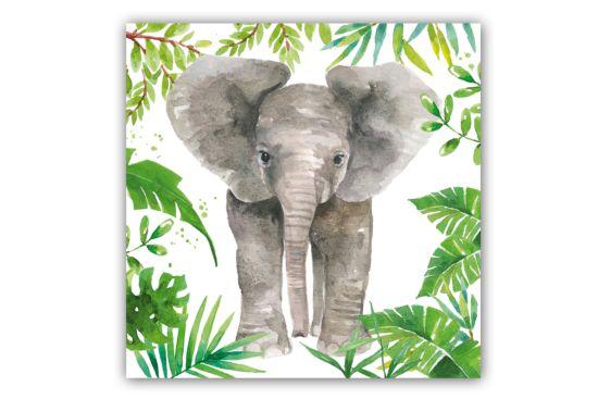 Servet Tropical Elephant 33x33cm groen/grijs 20 stuks