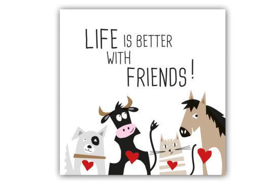 Servet Life is better with friends 33x33cm multicolor 20 stuks