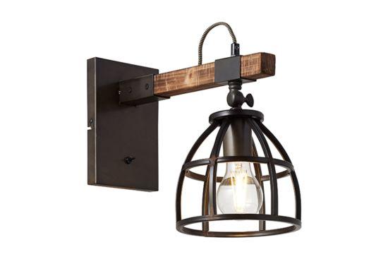 Wandlamp Matrix zwart bruin 60W E27