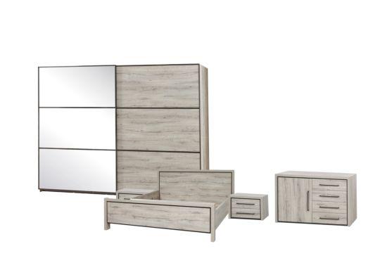 Slaapkamer met bed 160x200cm - kleerkast 280cm