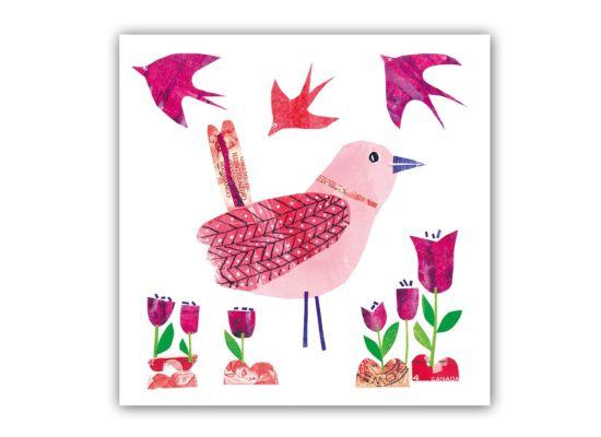 Servet Beauty Bird 33x33cm roze 20 stuks