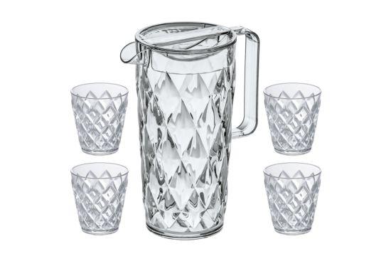 Waterkan Crystal + 4 glazen 1,6L