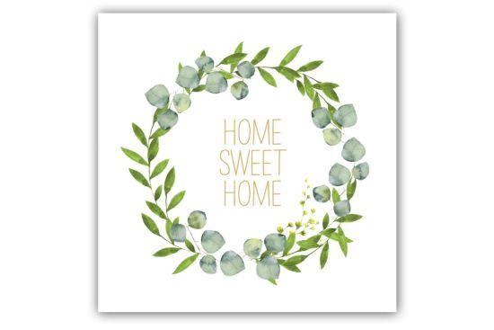 Servet Home Sweet Home 33x33cm groen 20 stuks