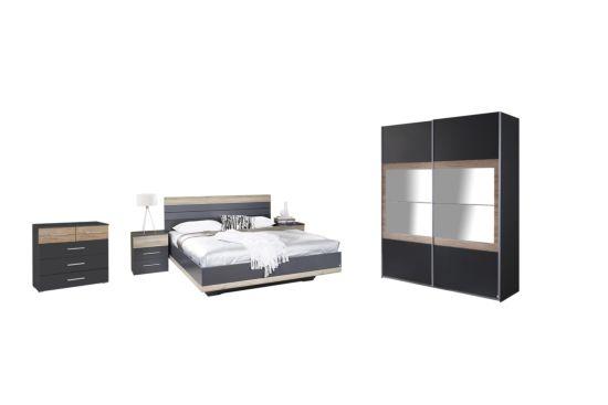 Slaapkamer met bed 160x200cm - kleerkast 181cm