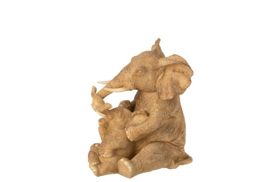 Beeldje Olifant zittend met kind H21cm