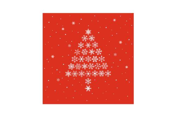 Servet Crystal Tree 33x33cm rood 20 stuks