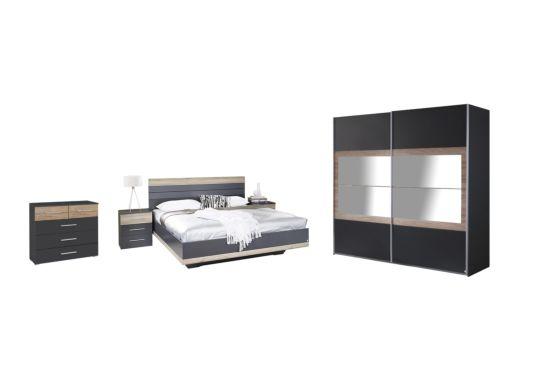 Slaapkamer met bed 160x200cm - kleerkast 226cm