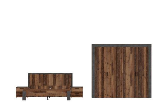 Slaapkamer met bed 160x200cm - kleerkast 230cm