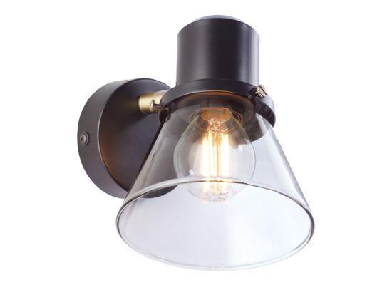 Wandlamp Ronald zwart transparant 25W E14
