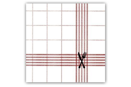 Servet 33x33cm rood/wit 20 stuks