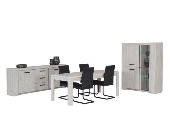 Eetkamer Elvis met 4 quartz stoelen