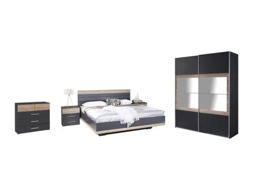 Slaapkamer met bed 180x200cm - kast 181cm