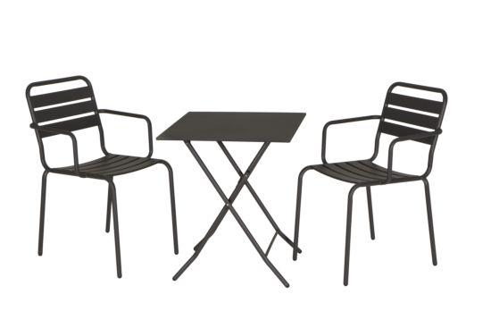 Bistroset Bolt 60x60cm met 2 stoelen Yogo antraciet
