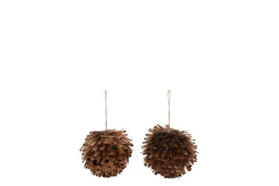 Decoratieve bal hangend losse veren 10cm