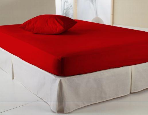 Hoeslaken 90x200cm katoen rood