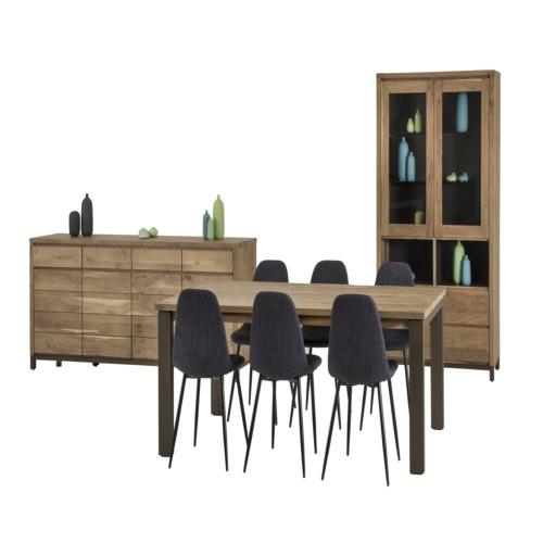 Salle manger sebastiani avec 6 chaises time weba meubles for Salle a manger weba