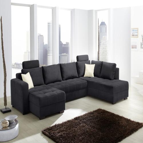 Canap d 39 angle antego avec fonction lit tissu noir weba for Fonction meuble