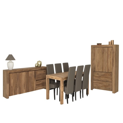 Salle manger corvo avec 6 chaises sue weba meubles for Salle a manger weba