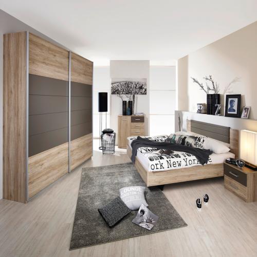 Chambre coucher avec lit 160x200cm armoire 271cm for Chambre a coucher weba